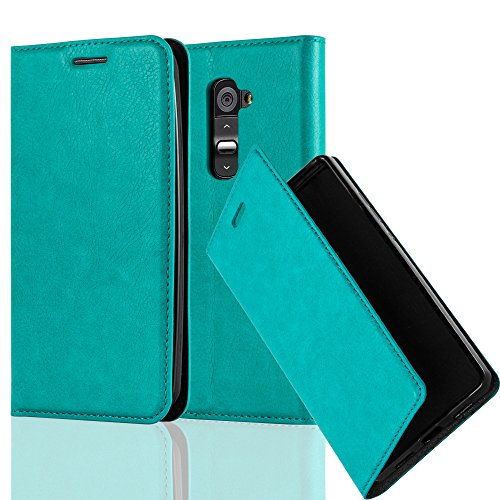 Cadorabo Book Case Works with LG G2 in Petrol Turquoise - with Magnetic Closure, Stand Function and Card Slot - Wallet Etui Cover Pouch PU Leather Flip