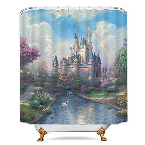 (LIGHTINHOME Cinderella Castle Rainbow Kids Shower Curtain Forest Princess Lake White Swan Decor Fabric Panel Polyester Waterproof 72x72 Inch with 12-Pack Plastic Shower Hooks for Bathroom)
