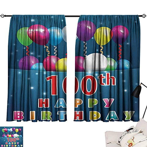 Jinguizi 100th Birthday Curtain for Bathroom Colorful Balloons on Star Like Dots 100 Years Birthday Festivity Print Darkening Curtains Blue and Dark Blue W55 x L39 by Jinguizi (Image #6)