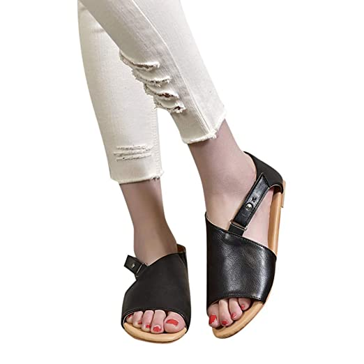 823e5cfac46ce7 Image Unavailable. Image not available for. Color  Women Peep Toe Flat  Sandals ...