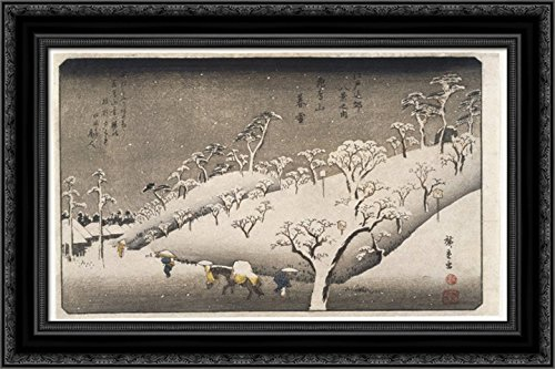 Evening Hiroshige Snow (Evening Snow on The Asuka Mountain 24x18 Black Ornate Wood Framed Canvas Art by Hiroshige)