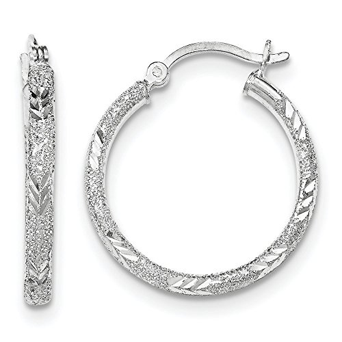 Diamond Laser Design Ring (Designs by Nathan, 925 Sterling Silver Seamless Sparkle Hoop Earrings, Laser and Diamond-Cut, 2 Choices (2.5mm x 30mm, about 1 3/16