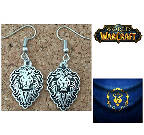 Superheroes World of Warcraft Alliance Lion Logo Silver Charms Cute Girl Dangle Charm Earrings