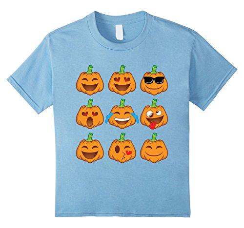 [Kids Pumpkin Face Shirt - Smiley Pumpkin Shirt Halloween Costume 4 Baby Blue] (4 Person Halloween Costumes Ideas)