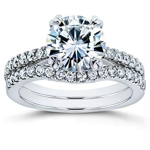 Forever One Moissanite and Lab Grown Diamond Bridal Rings Set 2 1/3 CTW 14k White Gold (DEF/VS), 6.5 from Kobelli