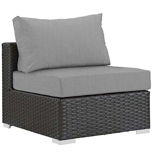 Modway EEI-1854-CHC-GRY Patio Fabric, Armless Chair, Canvas Gray