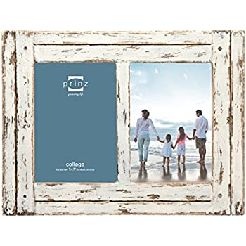 "Prinz 2 Opening Homestead Antique Wood Collage Frame, 5 x 7"", White"