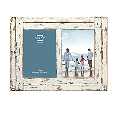 PRINZ Homestead Collage Picture Frame, 5 x 7, Distressed White - Wood collage in antique white Hand distressed finish Two-way easel for vertical or horizontal display - picture-frames, bedroom-decor, bedroom - 51dxb5qOSTL. SS400  -