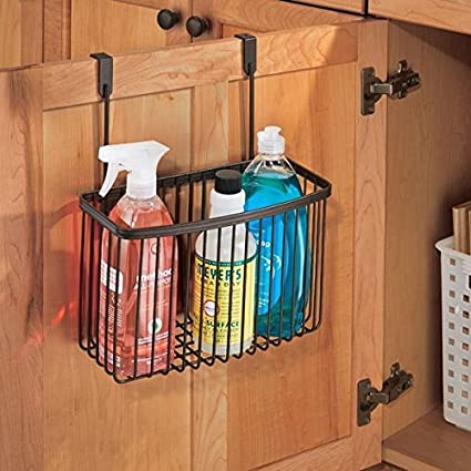 MDesign Over The Cabinet Hanging Kitchen Storage Basket Aluminum Foil,  Sandwich Bags Cleaning