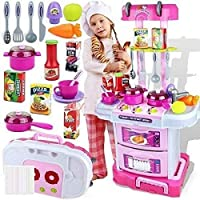 TABU TOYS WORLD Little Chef Kids Kitchen Play Set with Light & Sound Cooking Kitchen Set Play Toy (3 in 1) (Pink)