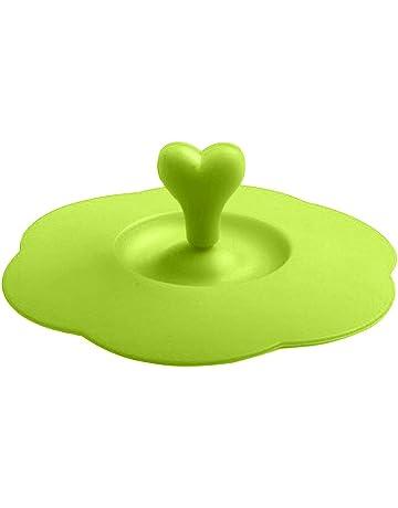 Taza de café con mango de corazón de silicona reutilizable y segura, con tapa de