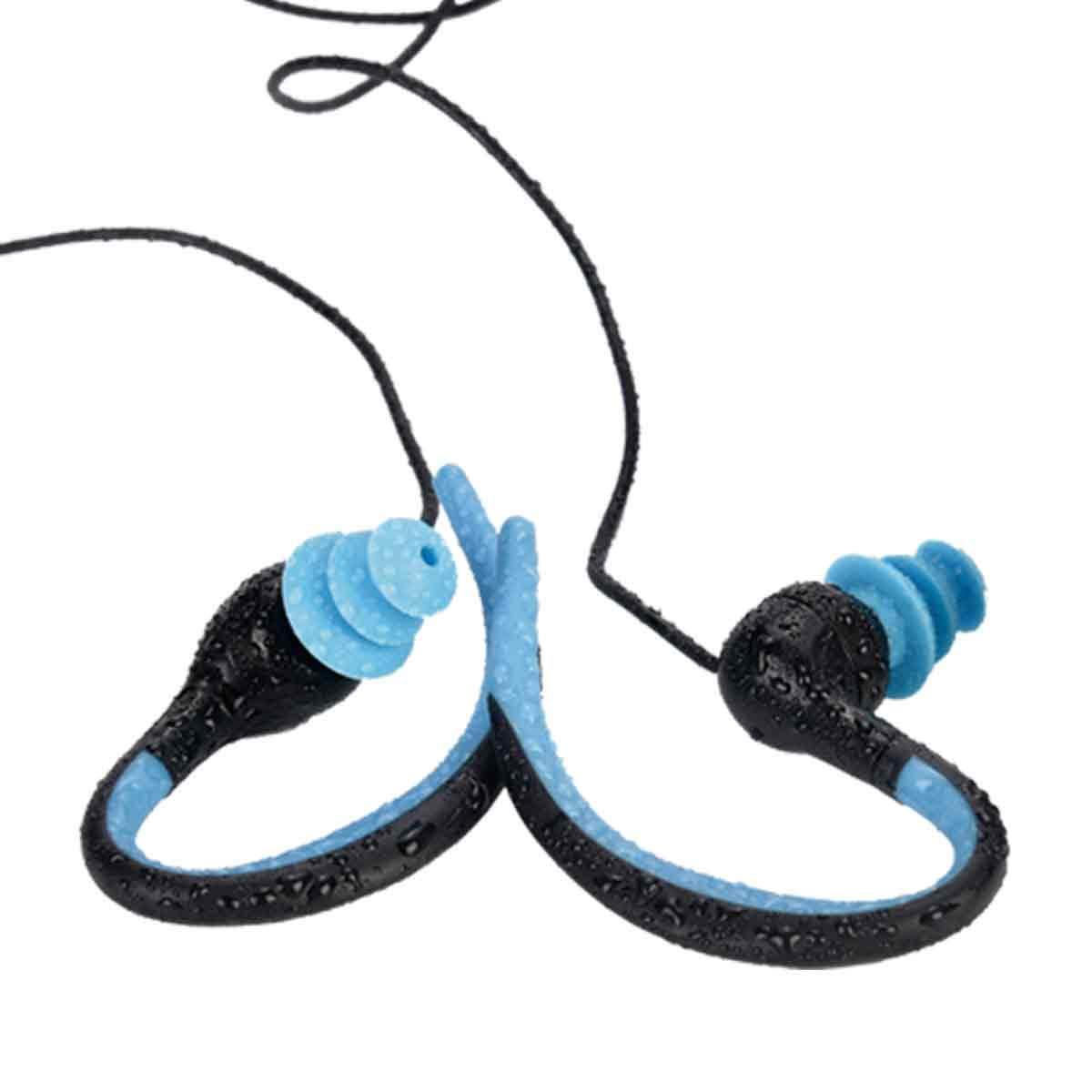 Auriculares submarinos con Cable Corto Azul HIFI WALKER Reproductor MP3 Impermeable para nataci/ón y Correr funci/ón de Shuffle