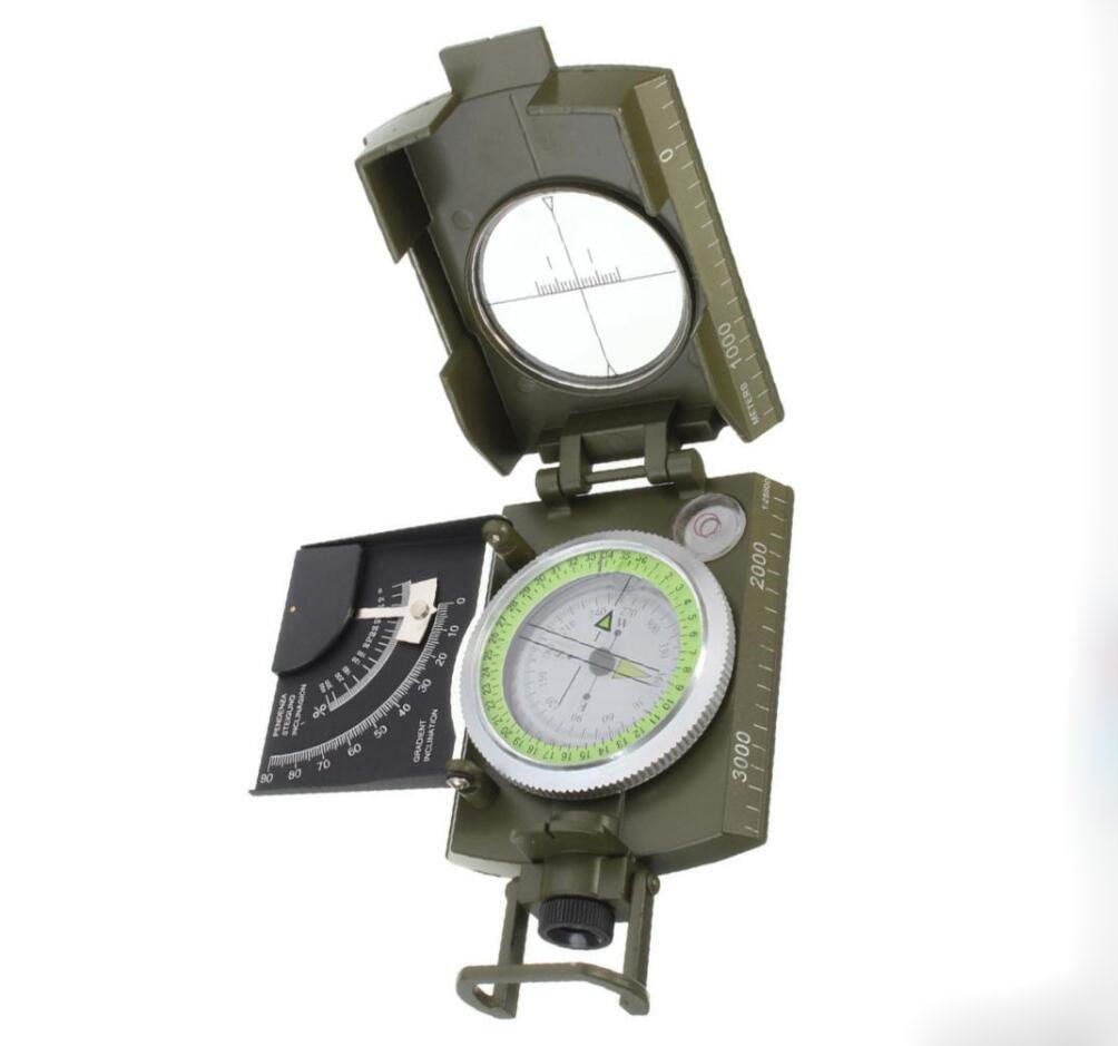 Hycy 2019 Nuevo Profesional Ej/ército Militar Metal Sighting Compass Clin/ómetro Acampar