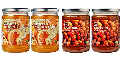 Ikea Organic Jam Bundle - Includes Total 4 Preserves - 2 MARMELAD APELSIN & FLÄDER Orange & elderflower organic Marmalade and 2 SYLT HJORTRON Cloudberry jam by IKEA