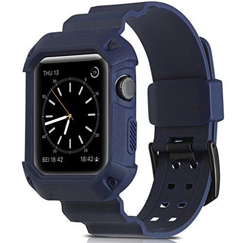 Camyse Compatible Apple Watch Band 42mm Case, Shockproof Rugged Protective Cover with Bands Stainless Steel Clasp for iWatch Apple Watch Series 3, 2, 1 Sport Edition for Men Women Grils Boys - Blue