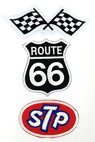 Set_MOTOR008 - Route 66 Highway Sign, Auto Racing Patches Set - Motor Patches - Applique Embroidered patches - Iron on Patches - Backpack Patches - STP Oil Patches, Racing Flag Patch, Route 66 Patch