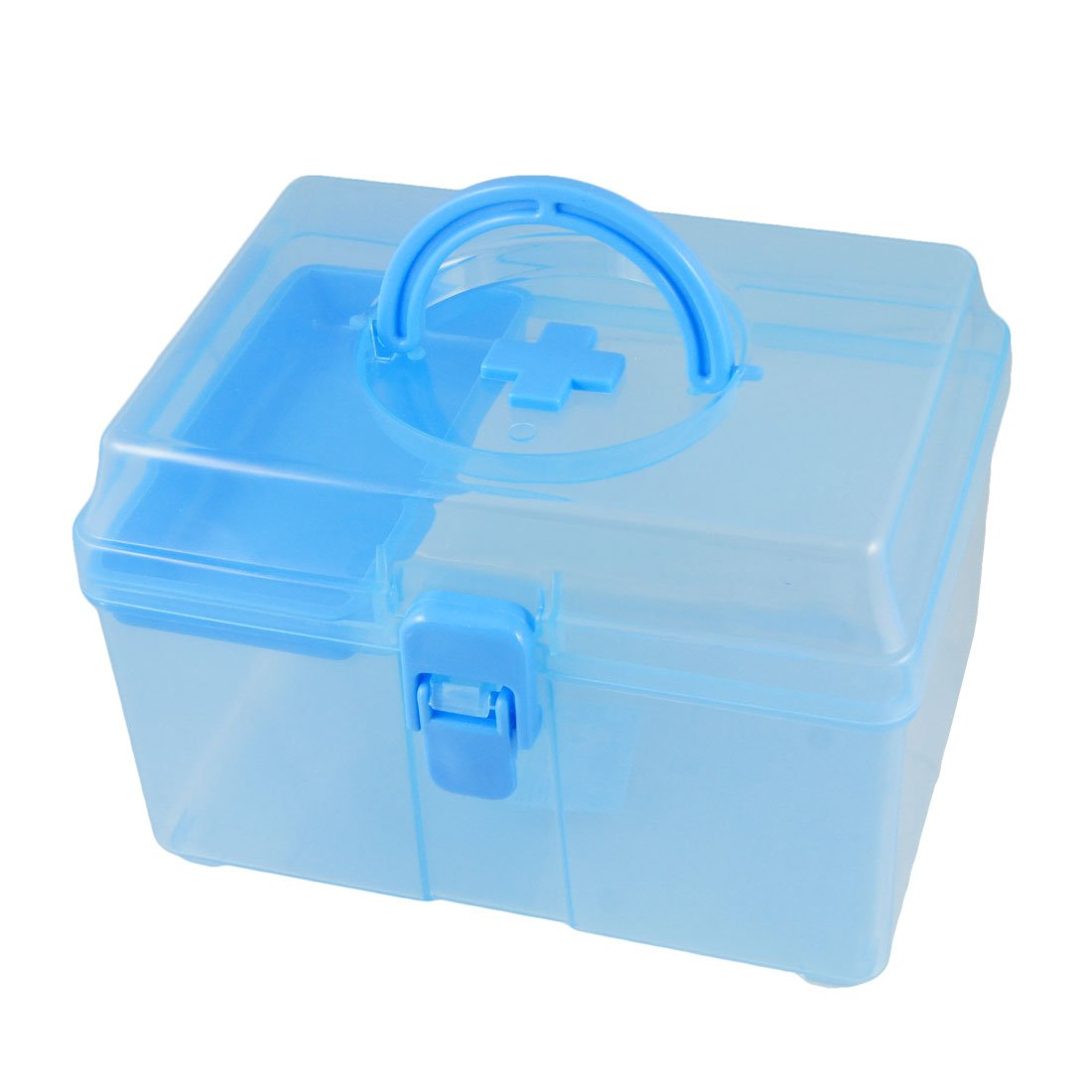 uxcell® Blue Two Compartments Family Chest Container First Aid Box Case