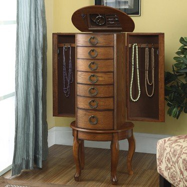- Powell Kimberly Burnished Oak Jewelry Armoire