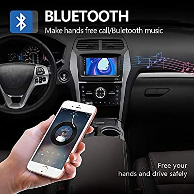 Podofo Double Din Car Stereo Car Radio with buletooth 7'' HD Touchscreen Car Multimedia Player Support FM/USB/AUX/D-Play iOS/Android Mirror Link with Rear View Camera: Home Audio & Theater