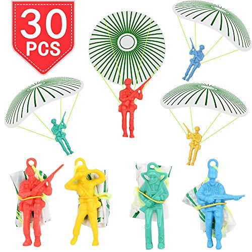 (PROLOSO Vinyl Paratroopers Plastic Warrior Figures Mini Parachute Men Airborne Action Figures Party Favors Toy Assortment 30 Pack)