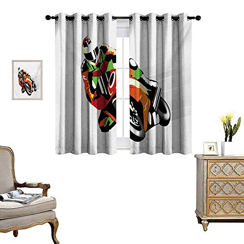 Motorcycle Patterned Drape for Glass Door Retro Art Motorcycle Racer with Headgear Championship Dangerous Extreme Sports Waterproof Window Curtain W72 x L72 Orange Green