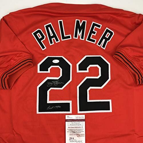 Autographed/Signed Jim Palmer HOF 1990 Baltimore Orange Baseball Jersey JSA COA