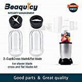 Beaquicy 2 Pack 16oz Cup with Cross Blade andFlat