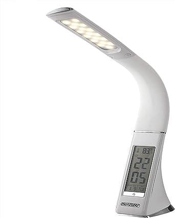 Nachttischlampe Tischleuchte Schreibtisch Lampe Büroleuchte mit Wecker Kalend DE