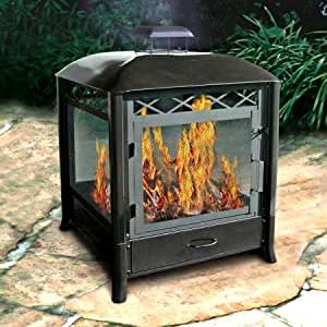 Rectangular Fireplace, Fire Pit, Black, Covered, Outdoor