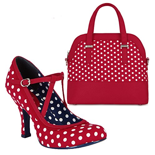 Ruby Shoo Women's Red & White Spot Jessica Mary Jane Pumps & Lima Bag UK 8 EU 41 by Ruby Shoo