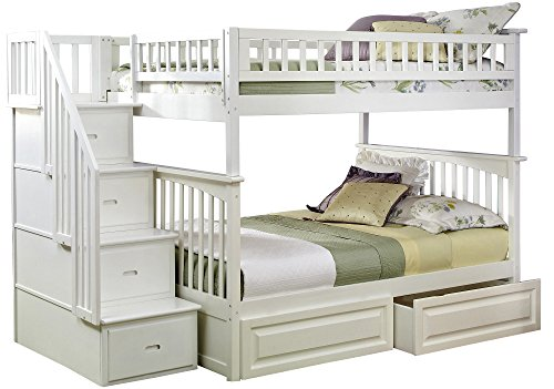 White Full Panel Bed (Columbia Staircase Bunk Bed with 2 Raised Panel Bed Drawers, Full Over Full, White)