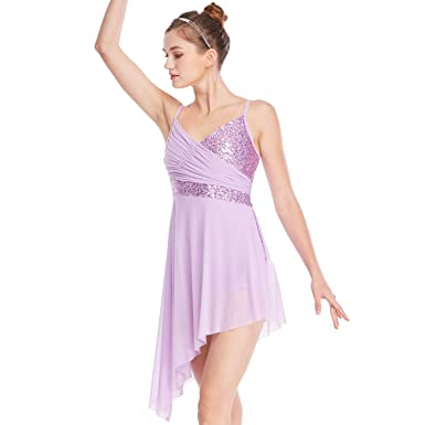 0d4ab3efc134 MiDee Lyrical Contemporary Dance Costume Dress Sequined V-Neck High-Low 4  Colors (