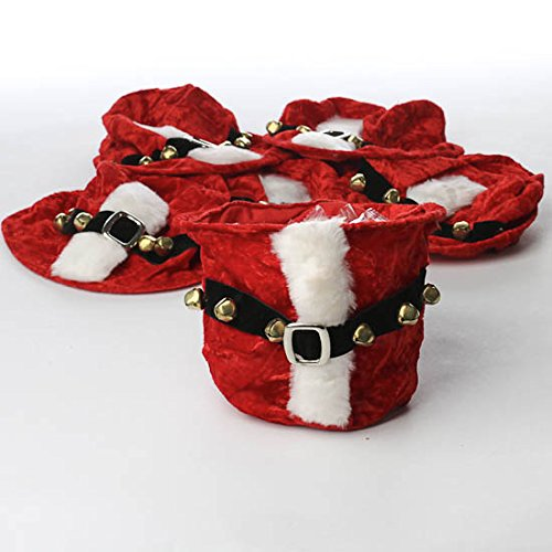 Factory Direct Craft Group of 12 Adorable Plush Santa Pants Goody Bags for Holiday Parties and - Treat Santa Bags