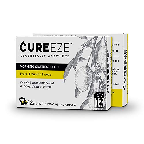 - Nausea Relief for Pregnant Women - Nose Clips by CureEze - Portable, Natural Remedy for Pregnancy Morning Sickness Relief, Dizziness, Aromatherapy-Lemon Essential Oil, Non-GMO (1 Pack of 12 Clips)