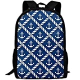 Travel Backpack Laptop Backpack Large Diaper Bag - Nautical Anchor Chevron Net Navy Backpack School Backpack For Women & Men