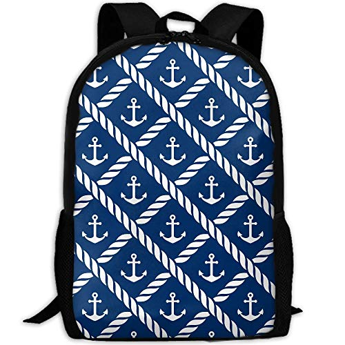 Travel Backpack Laptop Backpack Large Diaper Bag - Nautical Anchor Chevron Net Navy Backpack School Backpack For Women & Men by SAPLA