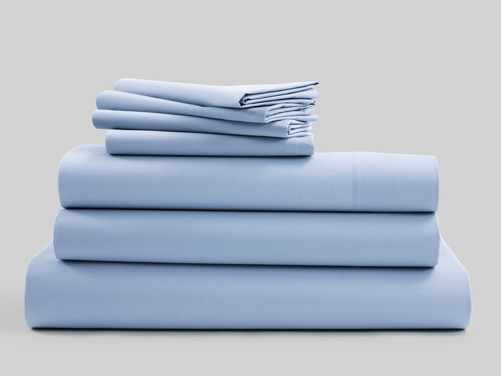 Twin Extra Long Flat Sheet Only, 800 Thread Count Egyptian Cotton 1 Piece Luxury Hotel Flat Sheet/Top Sheet Light Blue Solid-100% Satisfaction Guarantee