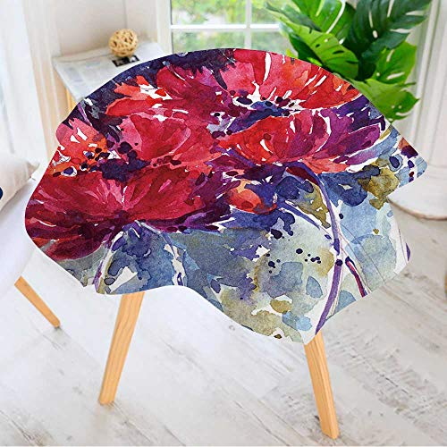Leighhome Hand Screen Printed Tablecloth- Hand Painted Watercolor Floral Modern Printed Spill Proof Cloth Round Tablecloths 67