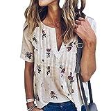 WLLW Women Bohemian Short Sleeve V Neck Floral Print T Shirt Tops Blouse Tee--------------------------------------------------------Package Including1 X Women T Shirt
