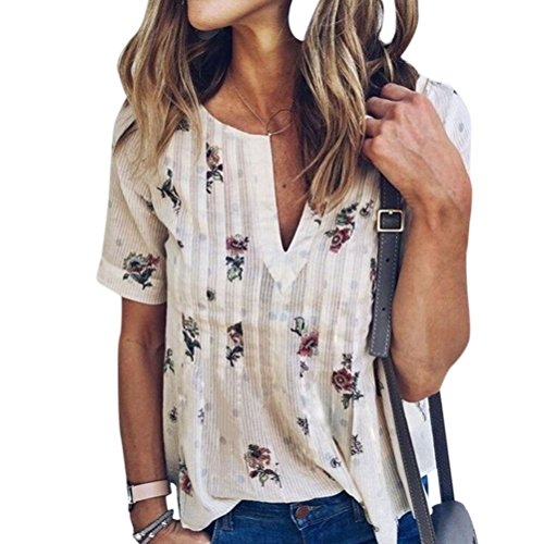 WLLW Women Bohemian Short Sleeve V Neck Floral Print T Shirt Tops Blouse Tee,White M