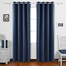 Deconovo Home Decorative Thermal Insualted Blackout Curtains Light Blocking Curtains Room Darkening Curtains for Study 52Wx 95L Inch Navy Blue 2 Panels