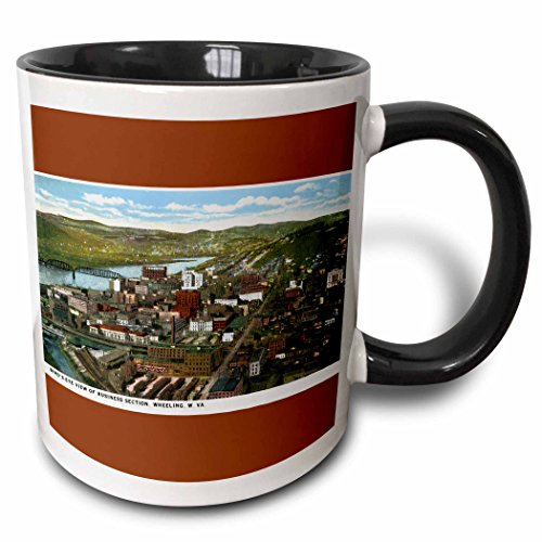 3dRose BLN Vintage US Cities and States Postcards - Birds Eye View of Business Section, Wheeling, West Virginia - 15oz Two-Tone Black Mug (mug_170771_9)