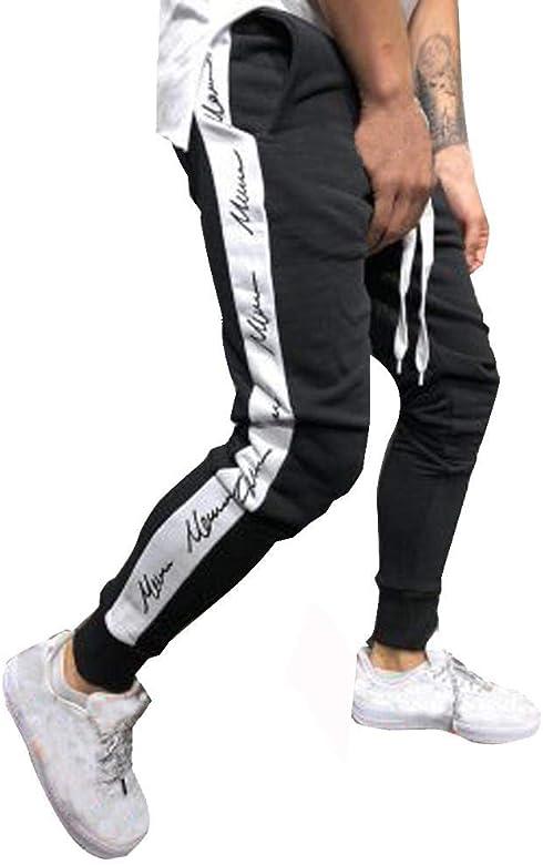 Pantalon Chandals Hombre - Logobeing Joggers Patchwork Pantalones ...