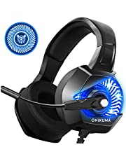 ONIKUMA K6 Gaming Headset Xbox One Headset with 7.1 Surround Sound Stereo, PS4 Headset with Noise Canceling Mic & LED Light, Compatible with PS4,PC, Xbox One (Adapter Not Included)