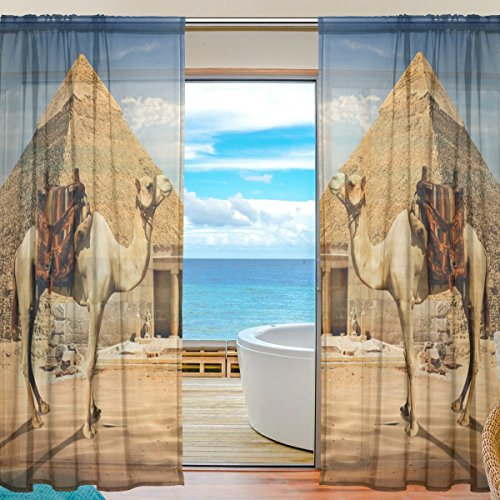 Price comparison product image Egyptian Sphinx And Pyramid Window Sheer Curtain Panels,  2 PCS 55x78 inch,  Gauze Curtain for Living Room Bedroom Home Decor