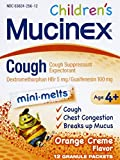 Mucinex Children's Chest Congestion Expectorant and Cough Suppressant Mini-Melts, Orange Cream, 12 Count (Packaging May Vary)
