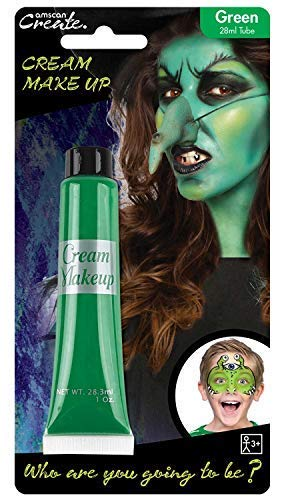 Ladies Mens Boys Girls Green Cream Make Up Face Paint Monster Witch Halloween Carnival Fancy Dress Costume Outfit Accessory -
