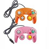 Bowink Ngc Classic Wired Shock Joypad Game Stick Pad Controller for Wii Gamecube NGC Gc Black (Orange and PInk)