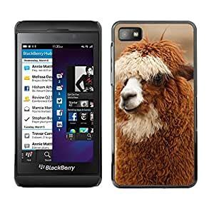 GoGoMobile Slim Protector Hard Shell Cover Case // M00118638 Brown Head Wool Alpaca Llama Curly // BlackBerry Z10