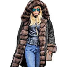Roiii Womens Long Sleeve Winter Parka Thick Faux Fur Hooded Coat Jacket Overcoat